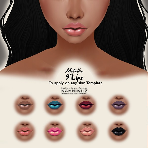 Metallic 9 Lips To Apply on Any Skin Template( Textures PNG)