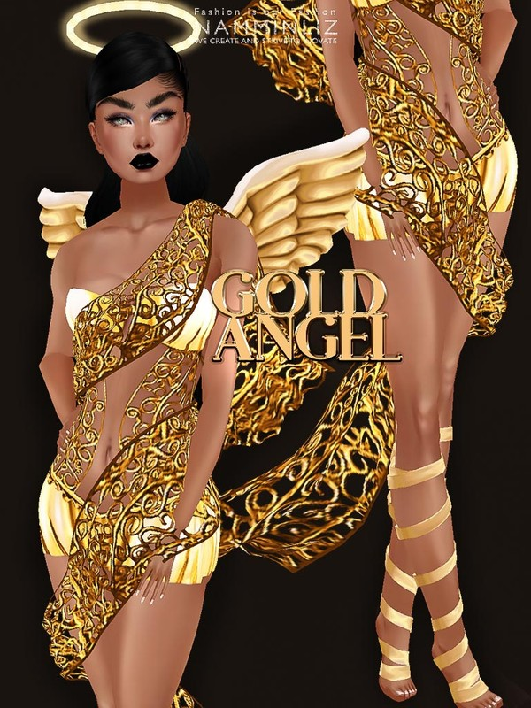 Gold Angel bundle ( Outfit, Shoes, Halo,Wings) + Ads and icons ^ - ^