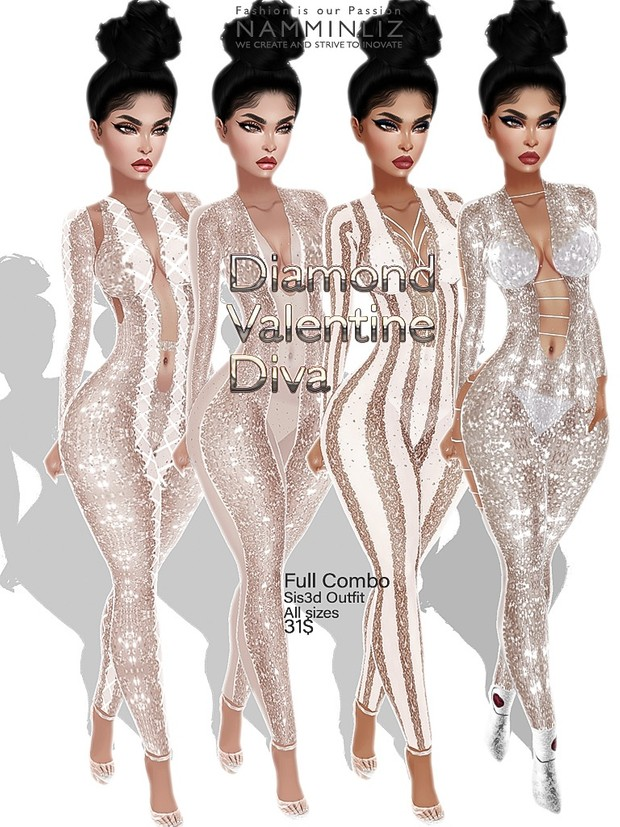 Diamond Valentine Diva Full combo outfit Sis3d JPG Texture