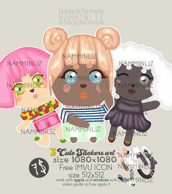 3 Sticker cute arts + 1 free IMVU icon Work with Mac & Windows