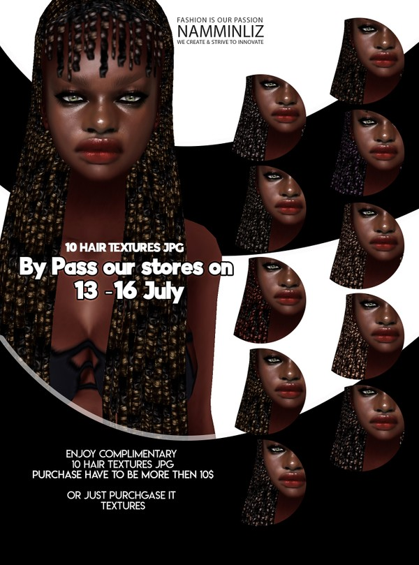 By Pass our stores on 13 to 16 July to get a complimentary 10 Hair Textures JPG