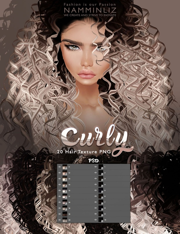 20 Curly Hair textures PNG imvu