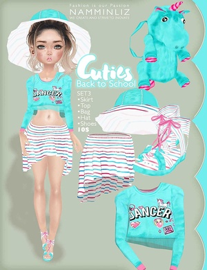 Cuties Back to School SET 3 ( Top + Skirts + Shoes + Accesories + Bag)