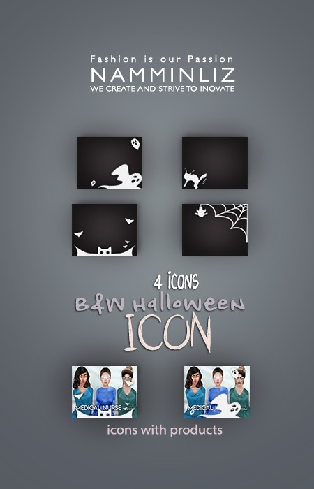 4 Halloween B&W Icons PSD & PNG Textures