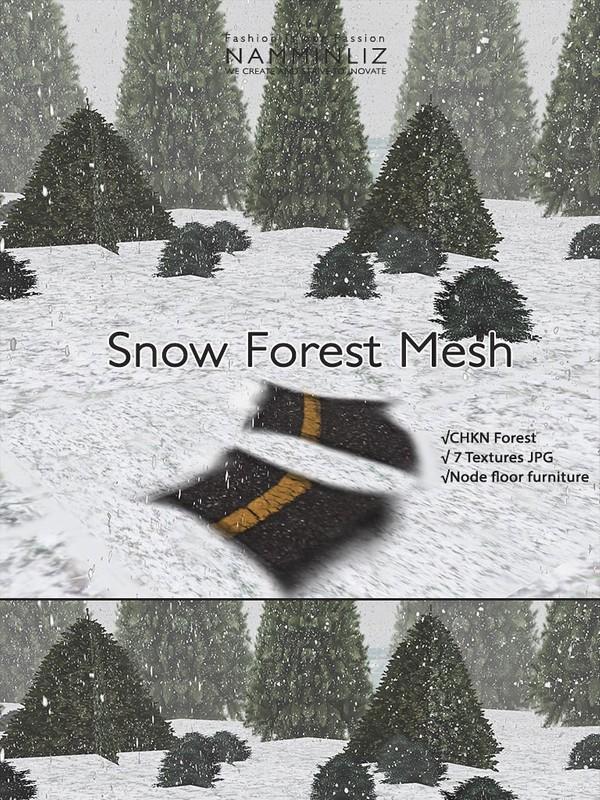 Snow Forest Mesh Home decor (7 Textures JPG, Mesh CHKN, Node Floor )