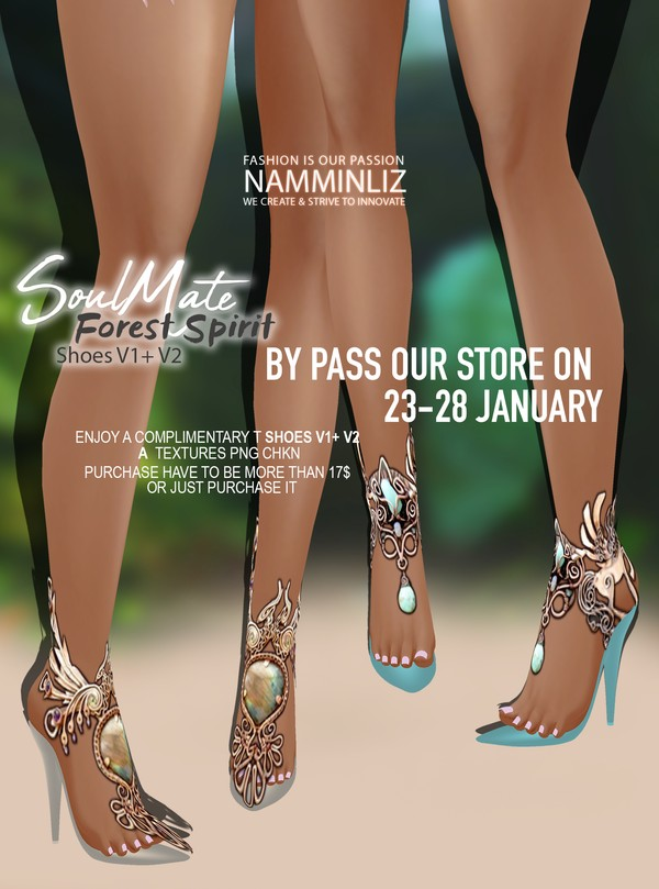 By Pass our stores on 23 - 28 January to get a complimentary Soulmate, Forest Spirit Shoes V1+V2