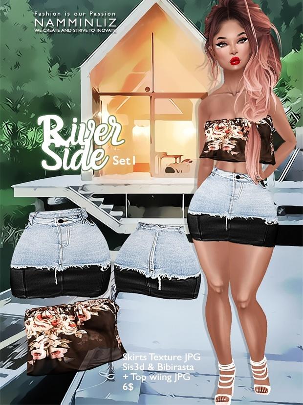 River Side  Set 1 ( Skirts JPG Textures bibirasta sis3d + Wiing Top )