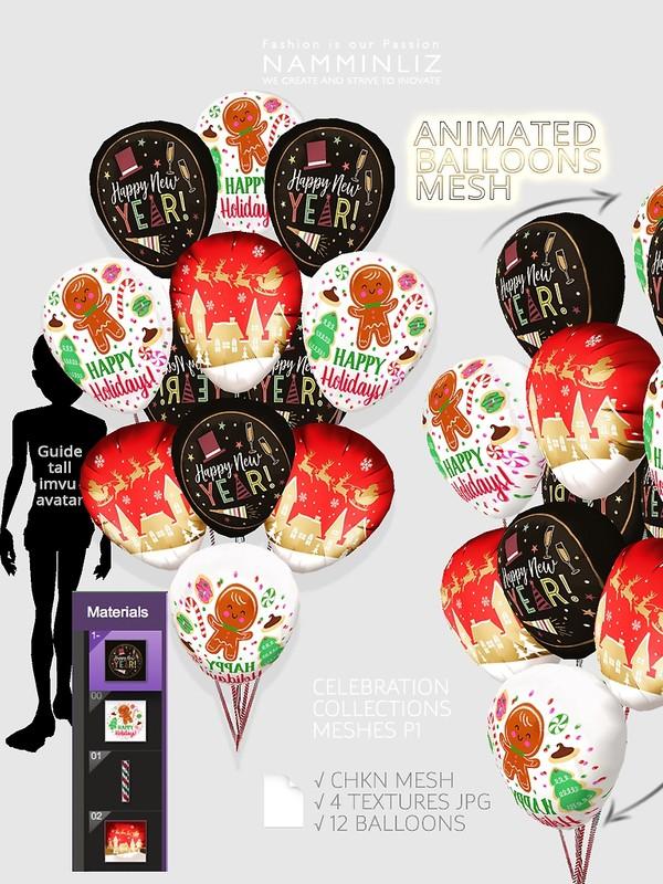 Animated Balloons Mesh Animated CHKN 4 Textures JPG