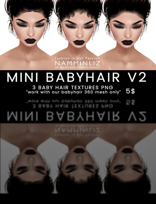 Mini Babyhair V2 ( 3 Textures PNG ) imvu namminliz(Work only with our 360° Mesh link below)
