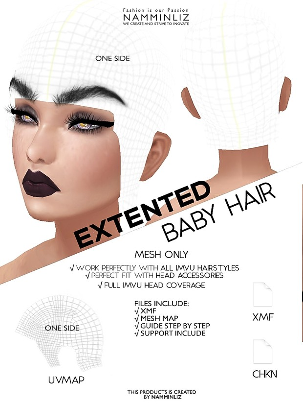 Extended Baby hair Mesh Side HD only XMF CHKN imvu full Head coverage