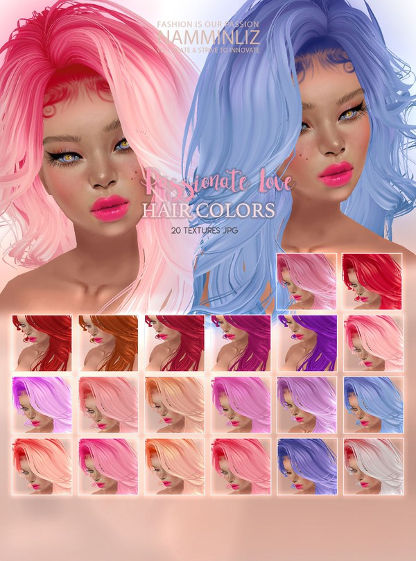 Passionate love Hair Colors 20 Textures JPG