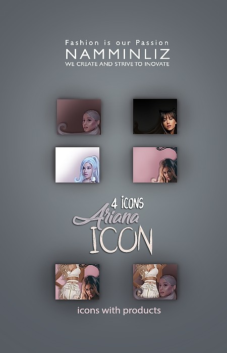 Ariana Grande 4 icons PSD collection