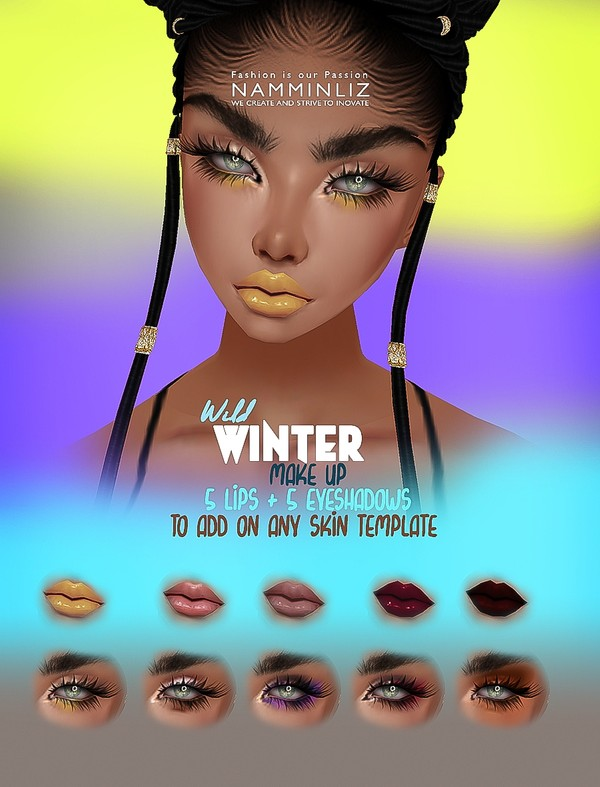 Wild Winter Make up 5Lips + 5 Eyeshadow PNG & PSD Textures