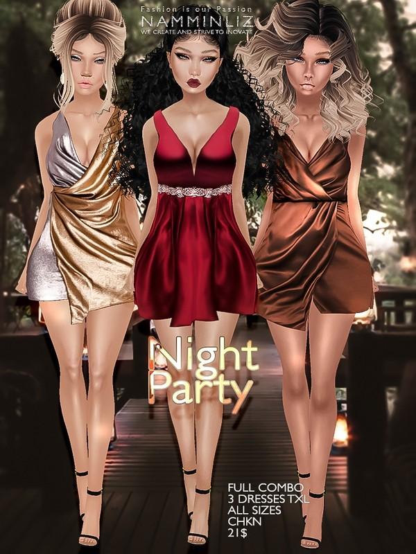 Night party full combo 3 Dresses Texture JPG TXL CHKN