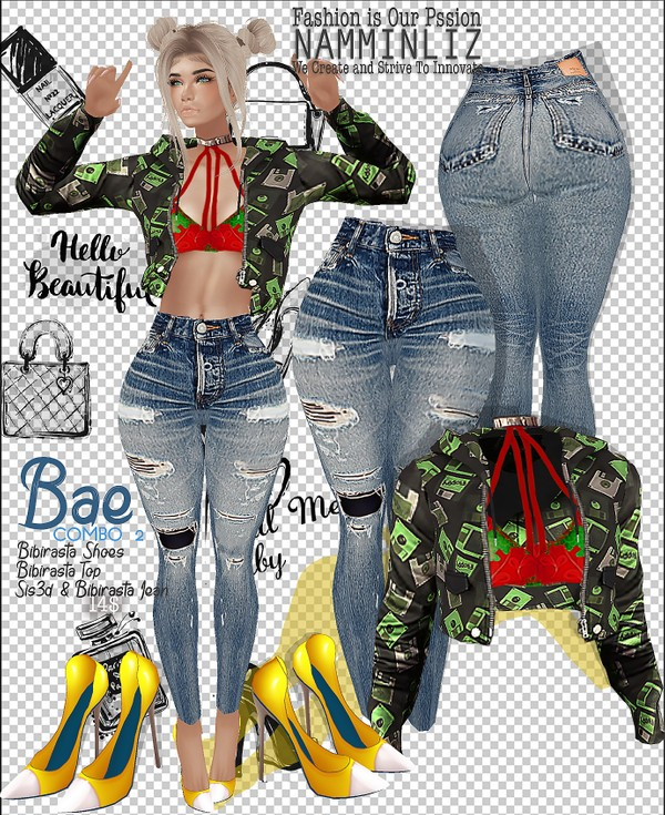 COMBO Bae2 Jeans sis3d & bibirasta +  Tops Bibirasta +  Shoes Bibirasta All Sizes