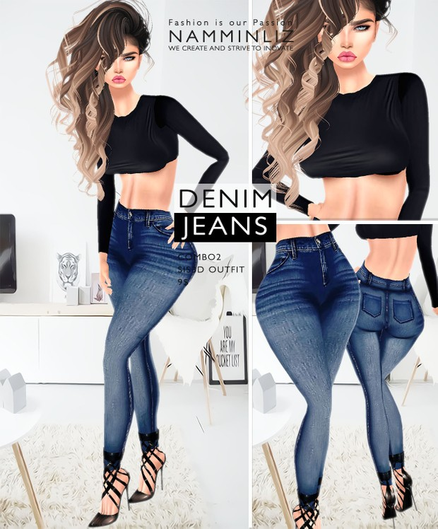 Denim Jeans combo1 imvu Sis3d outfit Jeans & Top