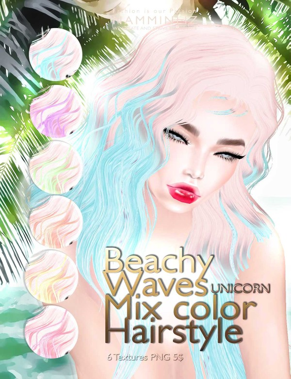 Beachy waves mixc color hairstyle •UNICORN 6 imvu hair texture PNG