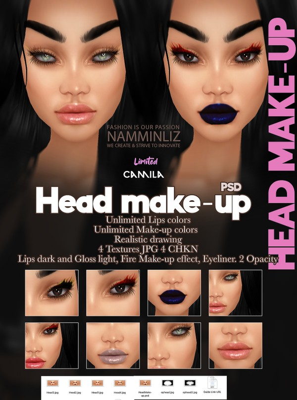 Camila Head Makeup Unlimited Lips & Makeup colors PSD 4 CHKN kd Limited 3 clients only