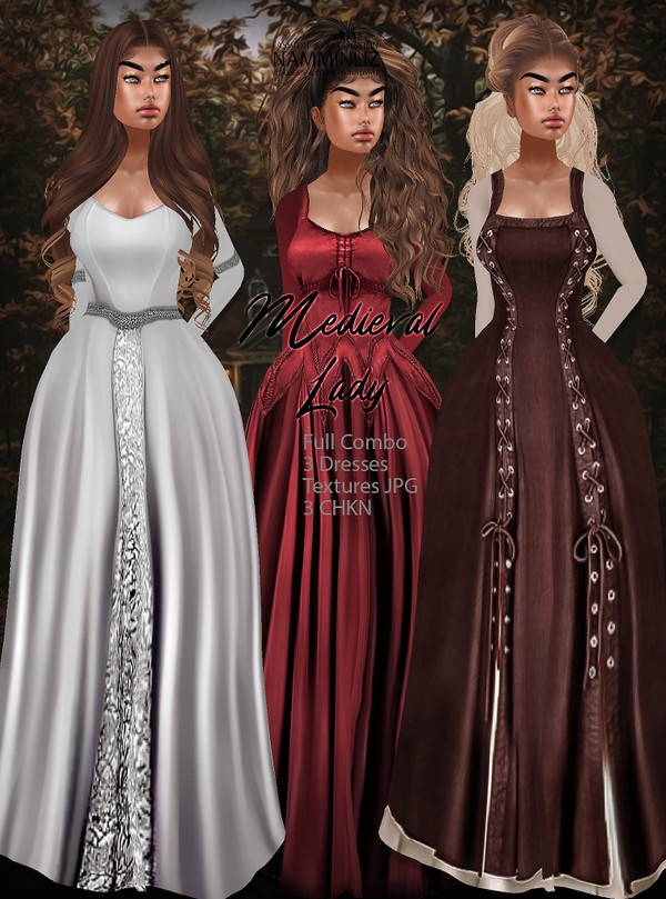 Medieval Lady Full combo 3 Dresses Textures JPG 3 CHKN