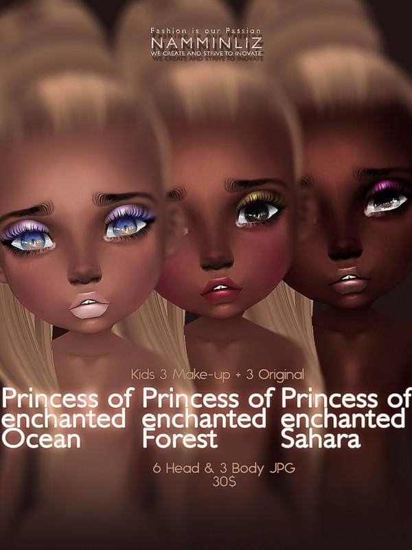 Full Princess of enchanted Ocean, Forest, Sahara (6 Head Original & Make-up + 3Body JPG)