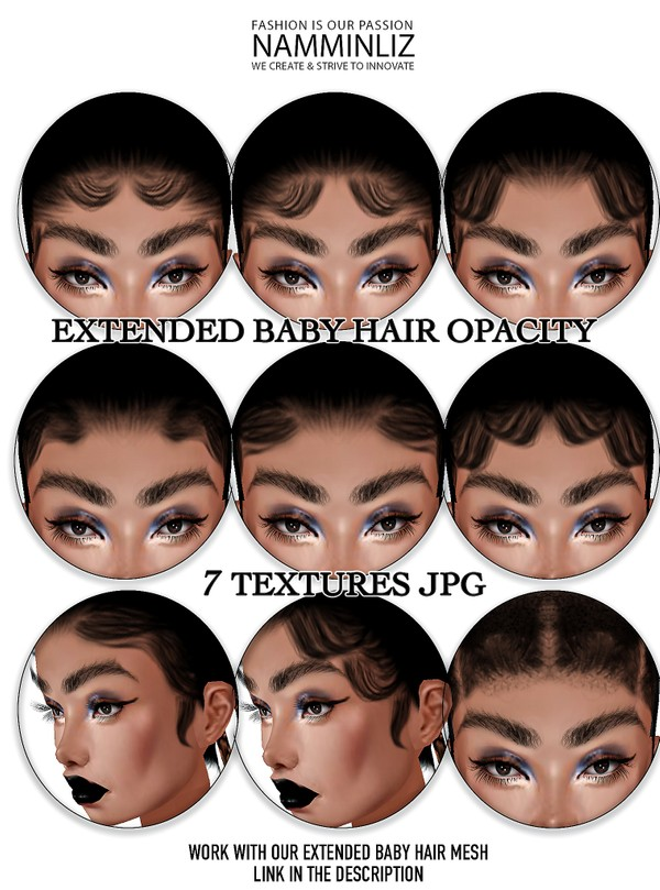Extended Baby Hair Opacity 7 Textures JPG (Work with our Extended Baby hair mesh link below)