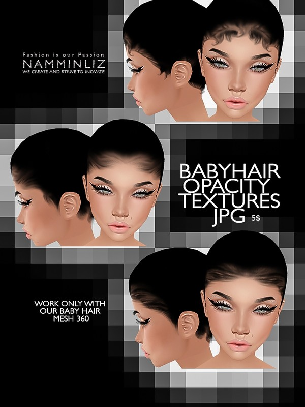 3 Baby hair Opacity texture JPG (Work only with our 360° Mesh link below)