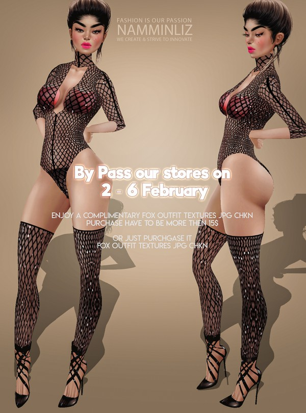 ByPass our stores on 2 to 6 February to get a complimentary Fox Outfit  textures JPG
