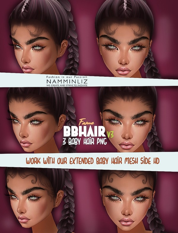 3 Fame BB Hair Opacity PNG only V3 work only with our