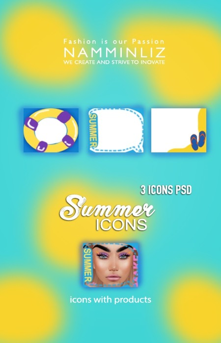 Summer 3 Icons PSD & PNG Textures