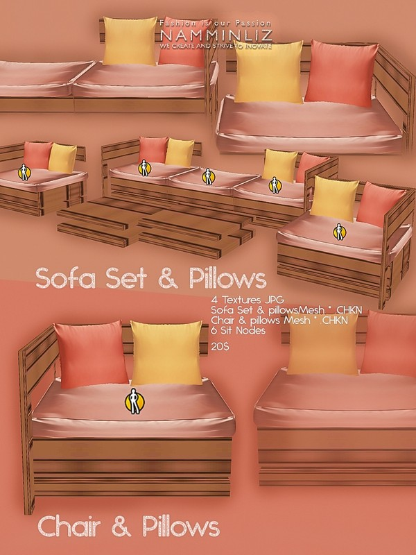 Sofa Set & pillows Mesh + Chair Pillows Mesh & 4 Textures JPG
