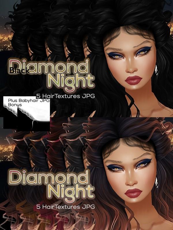 Full Diamond Night 10 hair textures JPG + Bonus Babyhair work with TWIINS Babyhair Mesh