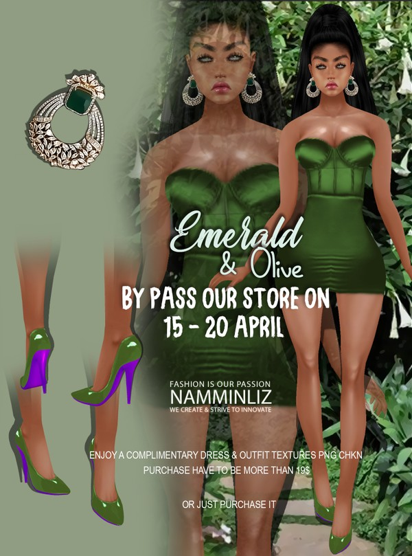 By Pass our stores on 15 to 20 April to get a complimentary  Emerald & Olive Dress+Earrings+Shoes