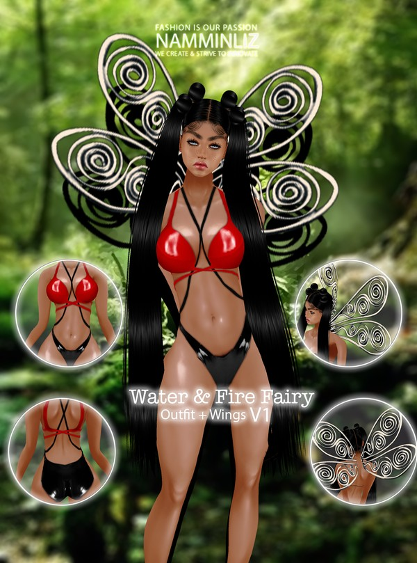 Fire & Water Fairy V1 Outfit + Wings Textures PNG 2 CHKN
