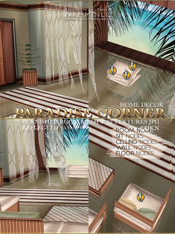 Paradise Corner Furnished Home decor Mesh & 30 JPG (Sofa set, rug, plant, plant,curtains,pillows)