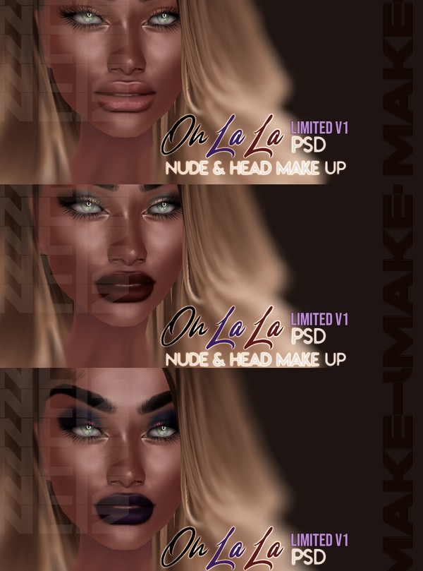 Oh La La Head Make-up V1 PSD Realistic drawing Unlimited Make-up COLOR & LIPS COLORS 2 Tones