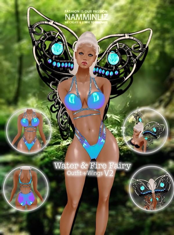 Fire & Water Fairy V2 Outfit + Wings Textures PNG 2 CHKN ^   .   ^