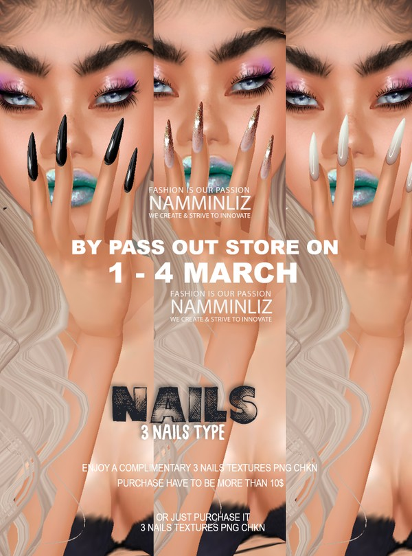 ByPass our stores on 1 to 4 March to get a complimentary 3 Nails type bibrastad textures PNG CHKN