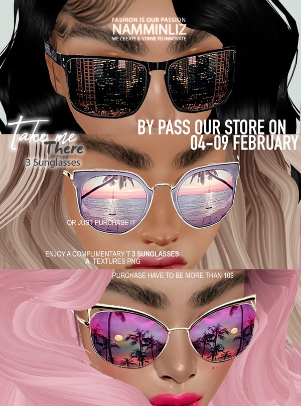 By Pass our stores on 4 - 9 February to get a complimentary Take me there 3 Sunglasses Textures PNG