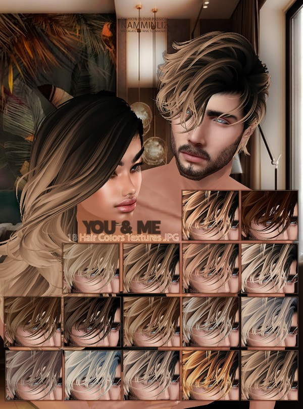 YOU & ME Hair colors 18 Textures JPG