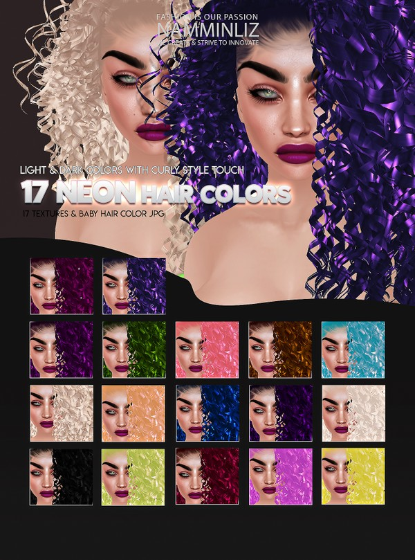 17 Neon Hairstyle Textures colors JPG + Baby hair Texture with Fade in Effect Curly Touch