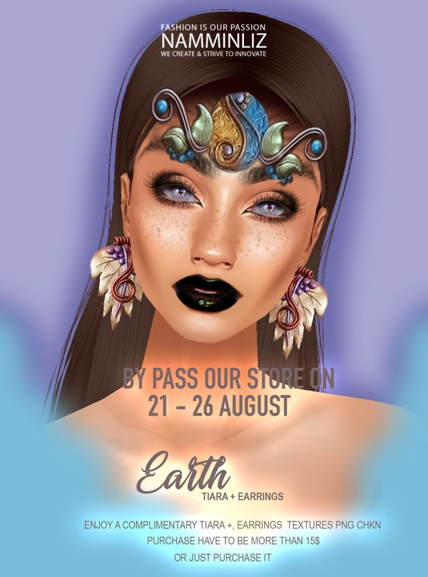 By Pass our stores on 21 to 26 August to get a complimentary Earth Earrings + Tiara  textures PNG 2