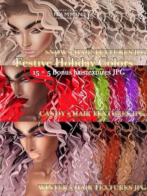 Festive Holiday colors 15+5 hair textures JPG