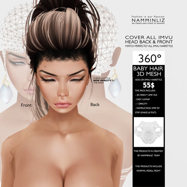 360 Baby Hair 3d Mesh Cover All Imvu Head Back Fro
