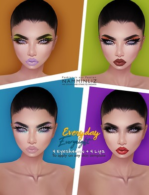 EveryDay, EveryNight 4 Eyeshadows+4 Lips PNG to Apply on any IMVU Skin Template