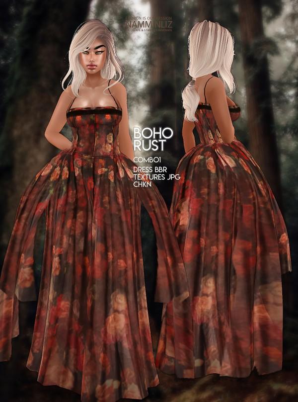 Boho Rust Combo1 Dress BBR Textures JPG CHKN