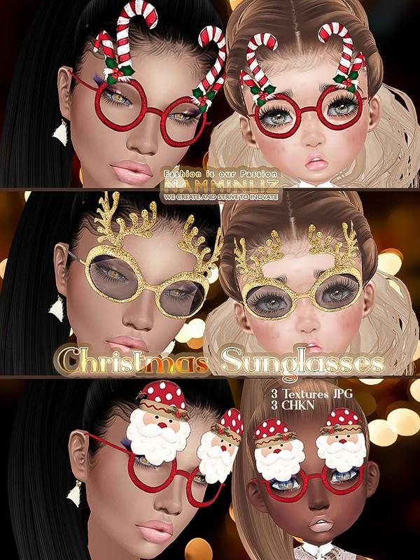 Christmas sunglasses v2 ( 3 Textures JPG, 3 CHKN )