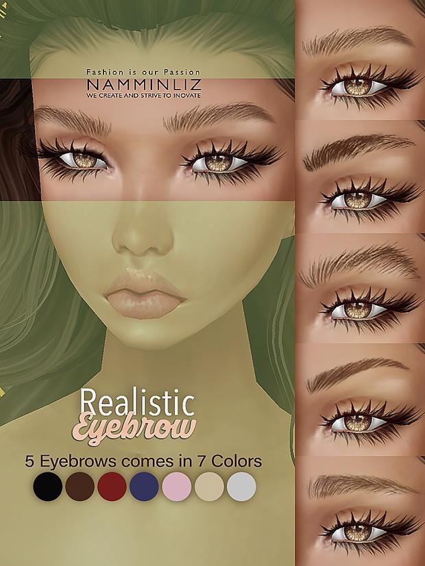 5 Realistic Eyebrow comes in 7 Colors PNG texture NAMMINLIZ