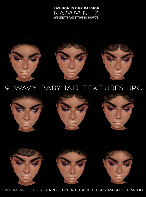 9 Wavy Babyhair Opacity Textures JPG (work with ourLarge Front Back Edges Mesh Ultra HD link below)