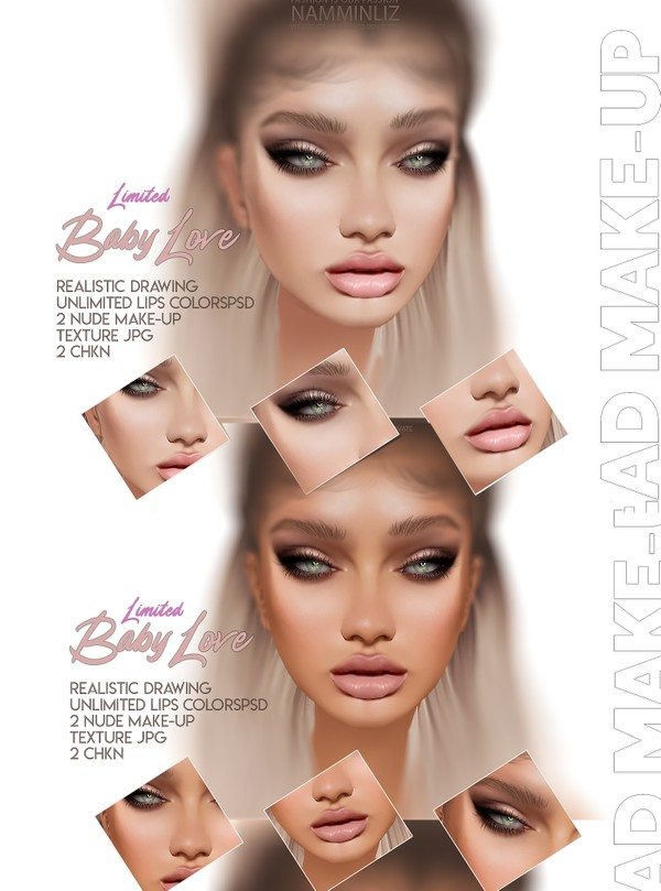 Baby Love Head Make-up Unlimited Lips Colors PSD Texture JPG 2 CHKN Master Resell right Limited 1