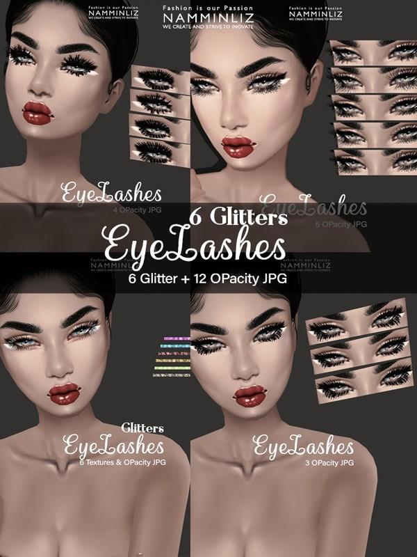 EyeLashes 6 Glitter Textures JPG + Eyelashes 12 OPacity JPG